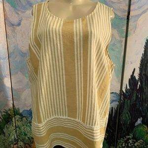 For Cynthia Beige Striped Linen Blend Top